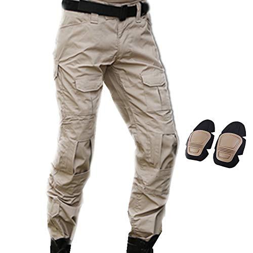 SGOYH Multi-Tasche Diensthosen Paintball Schießen BDU Taktische Hosen Airsoft Hosen mit Knieschützer - Hose Knieschoner