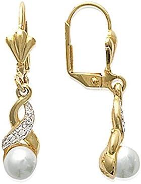 Isady – Bruna Gold - Ohrringe – Haken - 18 Karat (750) Gelbgold platiert - Zirkonium Transparent und weisse Perle...