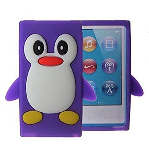 Tsmine Apple Ipod Nano 7th Generation Penguin Cartoon Case - Cute 3D Penguin Soft Silicone Back Washable Cover Case Protective Skin for iPod Nano 7th Gen, Purple