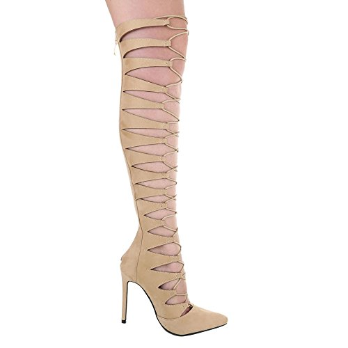 High Heel Damenschuhe Plateau Pfennig-/Stilettoabsatz Sommer Stiefel Reißverschluss Ital-Design Pumps Beige