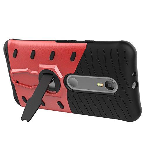 EKINHUI Case Cover Dual Layer PC + Soft TPU Armor Defender Case Heavy Duty Vollschutz 360 ° Drehbarer Stand Shockproof (Schockabsorption) Abdeckung für Motolora Moto G3 ( Color : Blue ) Red