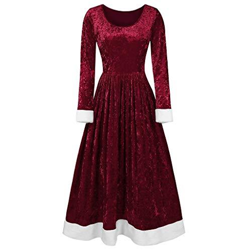 Holeider Damen Kleider Elegant Samt Weihnachtskleid Retro Vintage Langarm Rockabilly Kleid Cocktailkleider Lang Einfarbig Swing Kleid Festliches Kleid Abendkleid Faltenrock