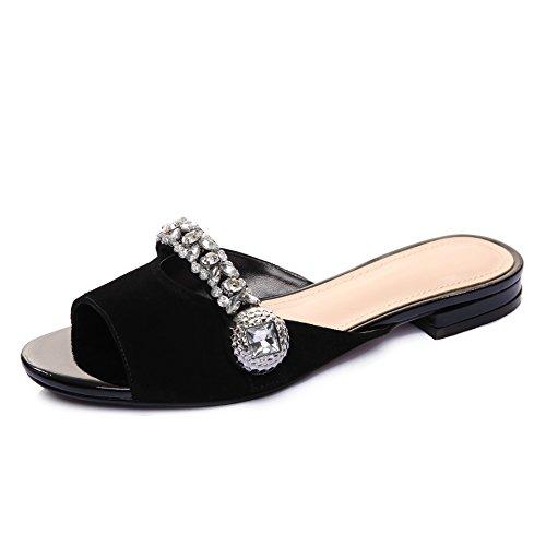 ZYUSHIZ Synthetischer Diamant Kühl und Schuhe Open Toe niedrig mit westlichen Matt Frau Sandalen Hausschuhe 36EU