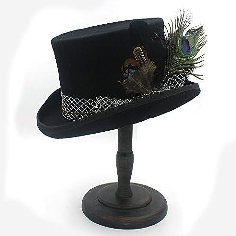 BEITE- Wolle DIY Frauen Männer Fedora Hut Steampunk Hut Dampf Punk Gear Fedoras Hut Millinery Goggles Handmade Cap ( Farbe : Schwarz , größe : 57cm (Männer Frauen Fedora)