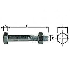 Boulon tête hexagonale Zingué diamètre 7 mm longueur 40 mm filetage partiel - Boite de 100