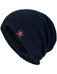 Fossen Unisex Gorra de Punto Invierno Templado Tejer Lana Sombrero para  Hombre Mujer (Navy) 5320a245d06
