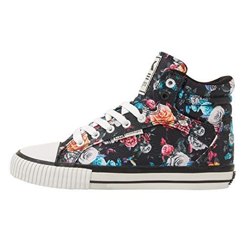 British Knights Damen DEE Hohe Sneaker, Schwarz (Black/Flower 21), 38 EU