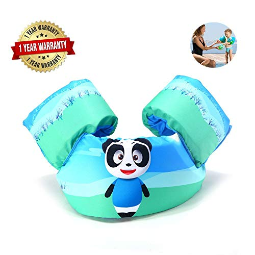 Swim Arm Bands Trainer Float Life Jacket Vest Learn Swimming Independence Fun Aid Water Pool Beach (blue lion) (panda) -