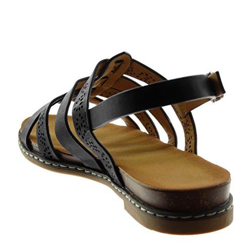 Angkorly Chaussure Mode Sandale Spartiates Lanière Cheville Femme Multi-Bride Perforée Talon Bloc 2.5 CM Noir