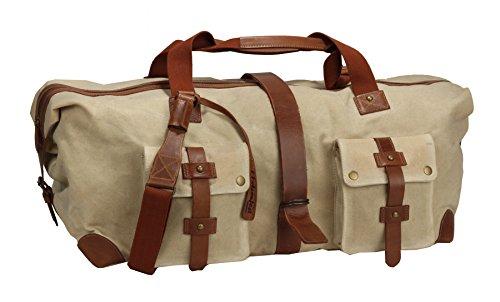 FFelsenfest Leder Sporttasche Sauna-Tasche Canvas offwhite. Reisetasche mit aufgesetzten Fächern für bessere Ordnung großes gepolstertes Innenfach – Weekender mit aufgesetzten Außentaschen