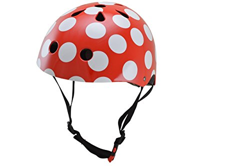kiddimoto 2kmh009m - Design Sport Helm Dotty, Gr. M für Kopfumfang 53-58 cm, 5-12+ Jahre, pünktchen rot
