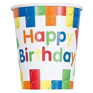 Unique Party- Vasos de Papel Fiesta de Cumpleaños de Bloques de Construcción, 8 Unidades, Multicolor, 266 ml (58236)