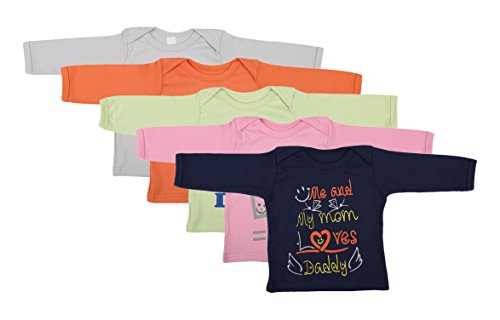 First Kids Step Babies Cotton T-Shirt (Di-Mom&Dad-Coloured-Full--12-18 Months, Multi-Coloured, 12-18 Months, Set of 5)