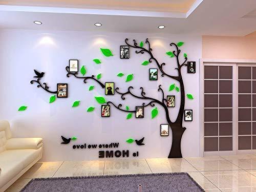 Asvert Vinilos Árbol con Hojas Verdes Pegatina de Pared 1 * 1.38 m con 11 Marcos de Fotos Murales de 8.9 * 12.7 cm Decoración Hogar 3D para Sala de Estar Corredor Escalera Dormitorio
