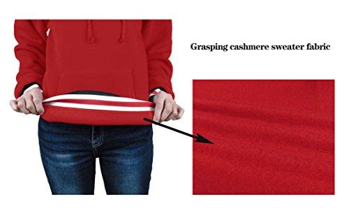 Beaii Femme à Capuche Sweater Uni Manche Longue Pull-over Automne Rouge