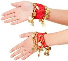 Pulsera Bellydance pulseras joyas pulsera de la mano con las monedas de oro (par) en el nuevo rojo