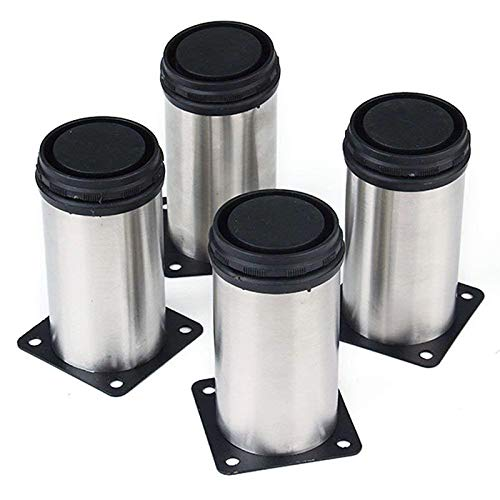 PIXNOR Runde Beine Edelstahl Küche einstellbare Möbelfüße - 4er(Silber)