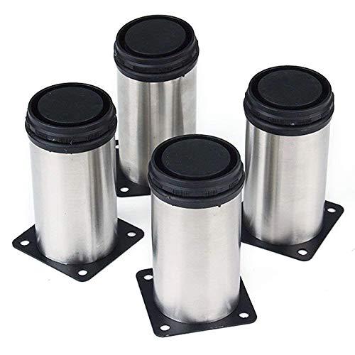 PIXNOR Ronda muebles patas acero inoxidable cocina patas regulables - 4 pack (plata)