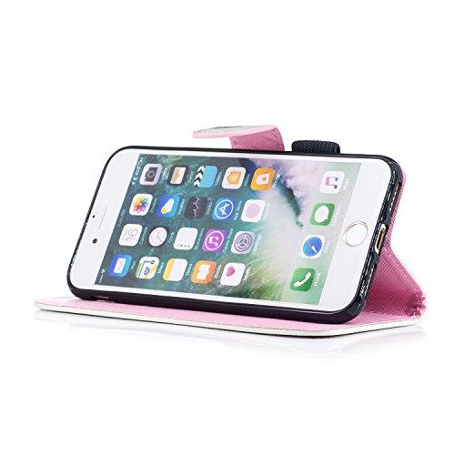 Custodia iPhone 7 / iPhone 8 Cover ,COZY HUT Flip Caso in Pelle Premium Portafoglio Custodia per iPhone 7 / iPhone 8, Retro Animali di cartone animato Modello Design Con Cinturino da Polso Magnetico S Scheletro ananas
