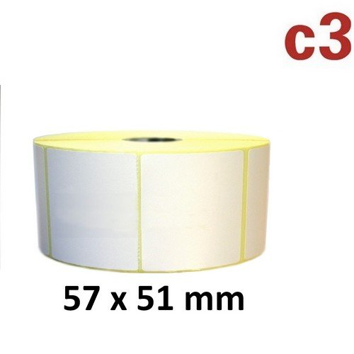 57x51 mm ThermoEtiketten Rolle mit 1.370 Etiketten Zebra ,Citizen,Intermec, TEC