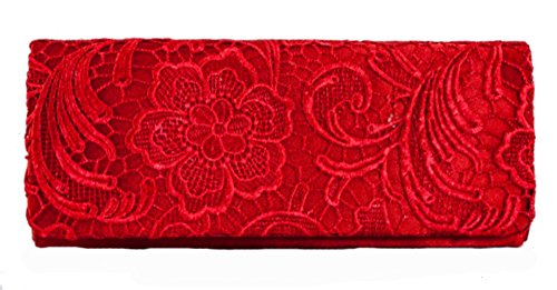 Womens Red Satin Ladies Floral Lace Small Bridal Party Evening Clutch Bag Handbag