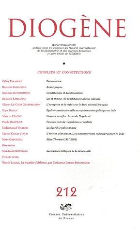 Diogène, n° 212 : Conflits et constitutions