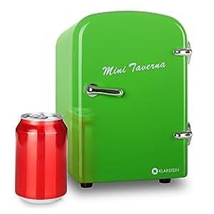 Klarstein Bella Taverna minifrigo freddo/caldo (4litri, refrigerazione e mantenimento calore, design anni '50, ripiano estraibile, alimentazione corrente e presa accendisigari, trasportabile) - verde