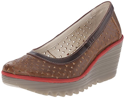 FLY London Yare597Fly, Escarpins femme Marron - Brown (Camel/Dk Brown/Red)