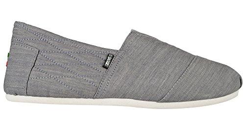 Di Baggio Men's 'Denim' Plain Slip On Canvas Pumps Espadrille Beach Shoes Grey 10