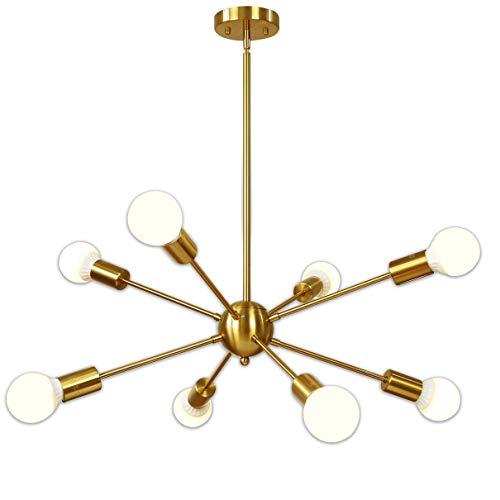 Gold 8 Licht (Kronleuchter, 8-Licht Messing gebürstet Anhänger Beleuchtung Gold Mitte des Jahrhunderts moderne Starburst-Stil Deckenleuchte für Esszimmer Küche Schlafzimmer Foyer)
