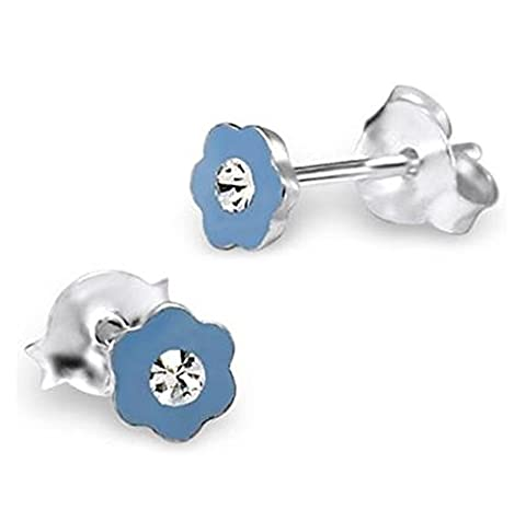 Mini Blue Flower Earrings with Clear Crystal Stones - Sterling