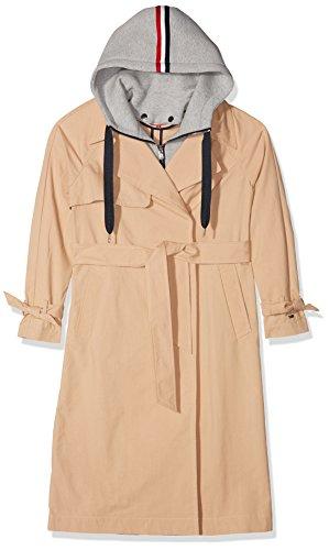 Tommy Jeans Damen TRENCH COAT Langarm Trenchcoat Jacke Beige (Ginger Root 685) Small Denim Trenchcoat