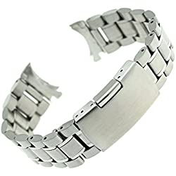PIXNOR Stainless Steel Bracelet Watch Band Strap Curved End Solid Links 24mm (Silver)
