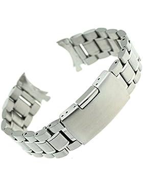 Foxnovo 24mm Edelstahl Armband Armband Band gebogene Ende solide Links (Silber)