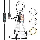 TRONMA Led-Ringlamp Met Statiefondersteuning, Ring Licht Met Mobiele Telefoonhouder Voor Make-Up, Selfie Lamp Mobiele Flashes