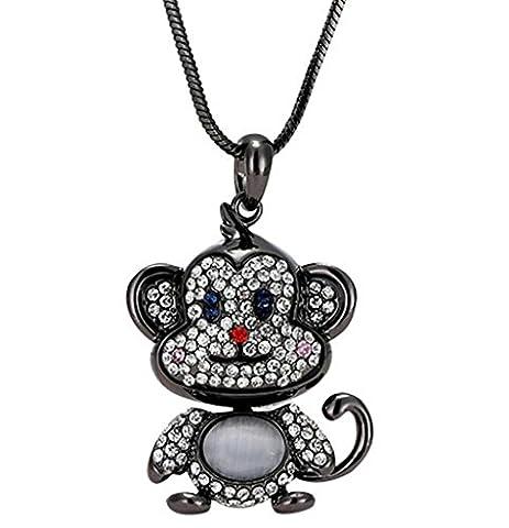 Epinki Women Stainless Steel Necklace Cubic Zirconia Monkey Animal Statement Necklace Pendant Gold