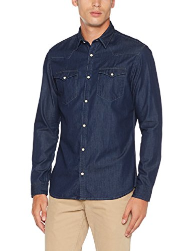 SELECTED HOMME Herren Freizeithemd Shnonened Shirt Ls Sts Blau (Dark Blue Denim)