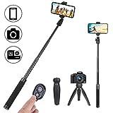 Phinistec Mini Selfie Stick und Verlängerungsstange für Stabilisator mit Stativ für Handy, iPhone, Gopro, Kamera, mit Smartphone Halterung und Bluetooth Fernbedienung und Gopro Adapter