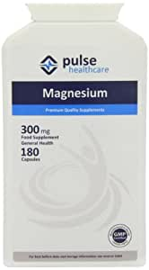 Pulse Healthcare 300mg Magnesium Premium Quality GMP Supplement - Pack of 180 Capsules