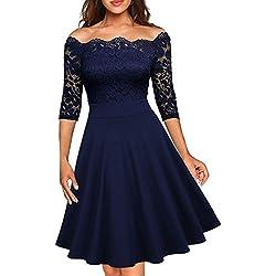 Miusol Elegante Floral Encaje Slim Fiesta Vestido para Mujer Azul X-Large