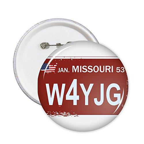 DIYthinker USA American Car License Plate Nummer Missouri Kreative Illustration Muster Runde Stifte Abzeichen-Knopf Kleidung Dekoration 5pcs S (License Plate Missouri)