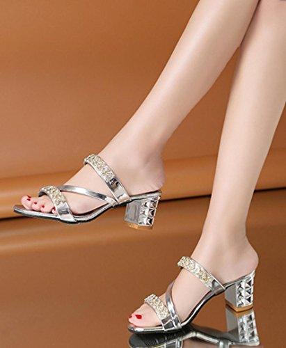 HYLM Elegante moda Snug elegante della signora di Sandali mezze del metallo del tallone di lavoro del partito di cerimonia nuziale delle donne di modo sulle scarpe dei pattini del Rhinestone Silver