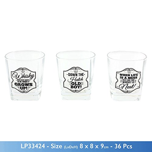 Gents quarts Neuf pour Homme Slogan Whisky Spiritueux en Verre Verre 3 Designs, Verre, Down The Hatch