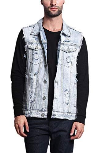 CuteRose Mens Ripped Button-Up Trim-Fit Skinny Pockets Vintage Wash Denim Vest Light Blue M Medium Wash Denim Vest