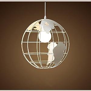 Wings of wind – Moderna lámpara de techo de la lámpara E27 Mapa Mundial Colgante colorido pantalla de cristal (blanco)