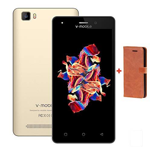 Moviles Libres,9Pcs 5.0 Pulgadas Pantalla 8GB ROM 1GB Ram Dual Sim 2800mAh Batería Android 7,0 5MP Cámara Quad Core V Mobile A10 4G Smartphones.Oro Avec Funda de Cuero (Oro+Funda de Cuero)