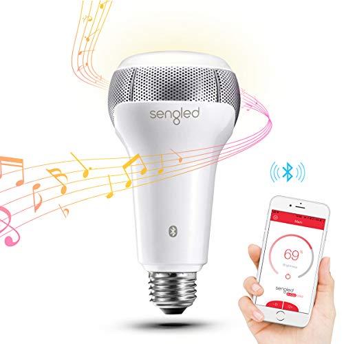 Sengled Solo Bluetooth Lautsprecher, LED Lampe, dimmbar, steuerbar via App,zum kabellosen Abspielen von Musik, warmweiß 2700K, ersetzt 60W, kompatibel mit Amazon Alexa
