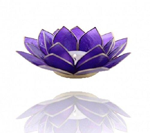 Bougeoir Photophore–Fleur de Lotus Capiz Coquillage–Indigo 6e Chakra rebord Doré pour bougies chauffe-plat–Cute Nails