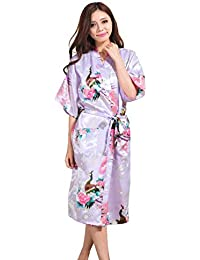 d019467696 Bata De Baño Satin Kimono Bata Albornoz Noche Cálida Pura con Pavo Basic  Real Y Flores