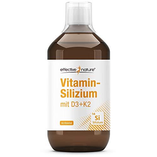 effective nature   Kolloidales Silizium mit D3 & K2  Hoch bioverfügbar - mit Vitamin D3 und K2   70 mg Silizium   75 µg Vitamin K2   20 µg Vitamin D3  Glasflasche   Hergestellt in Deutschland   200 ml